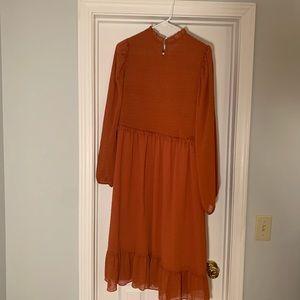 Lulu's Dresses - Lulus NWT rust orange long sleeve midi dress